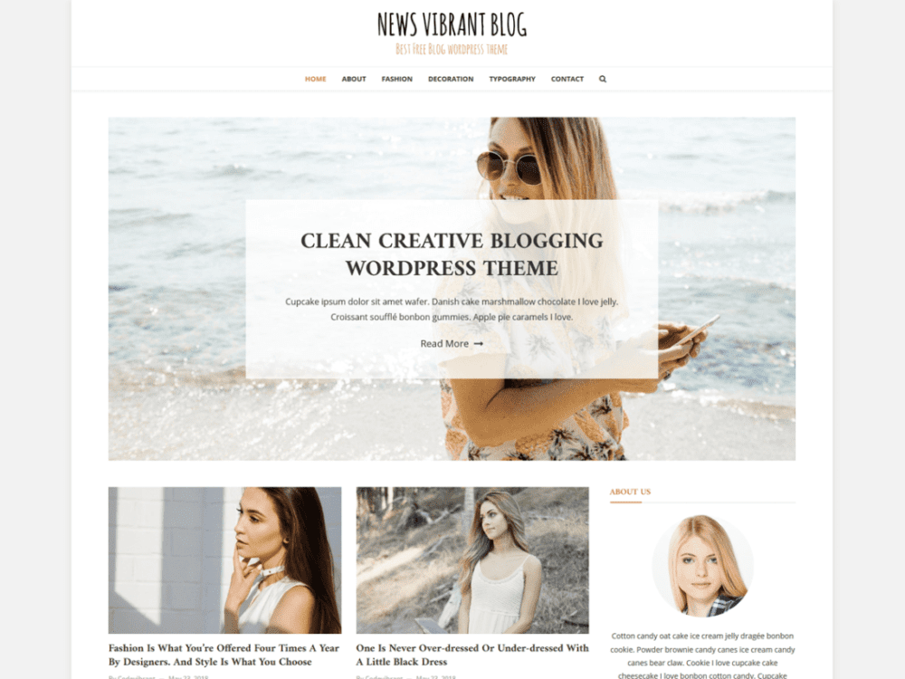 Free News Vibrant Blog Wordpress Theme