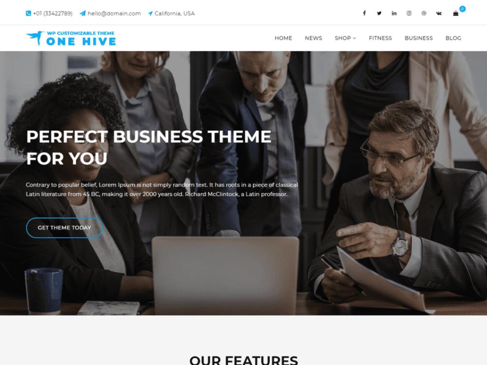 Free One Hive WordPress theme