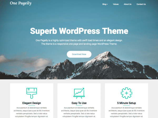 Free One Pageily Wordpress Theme