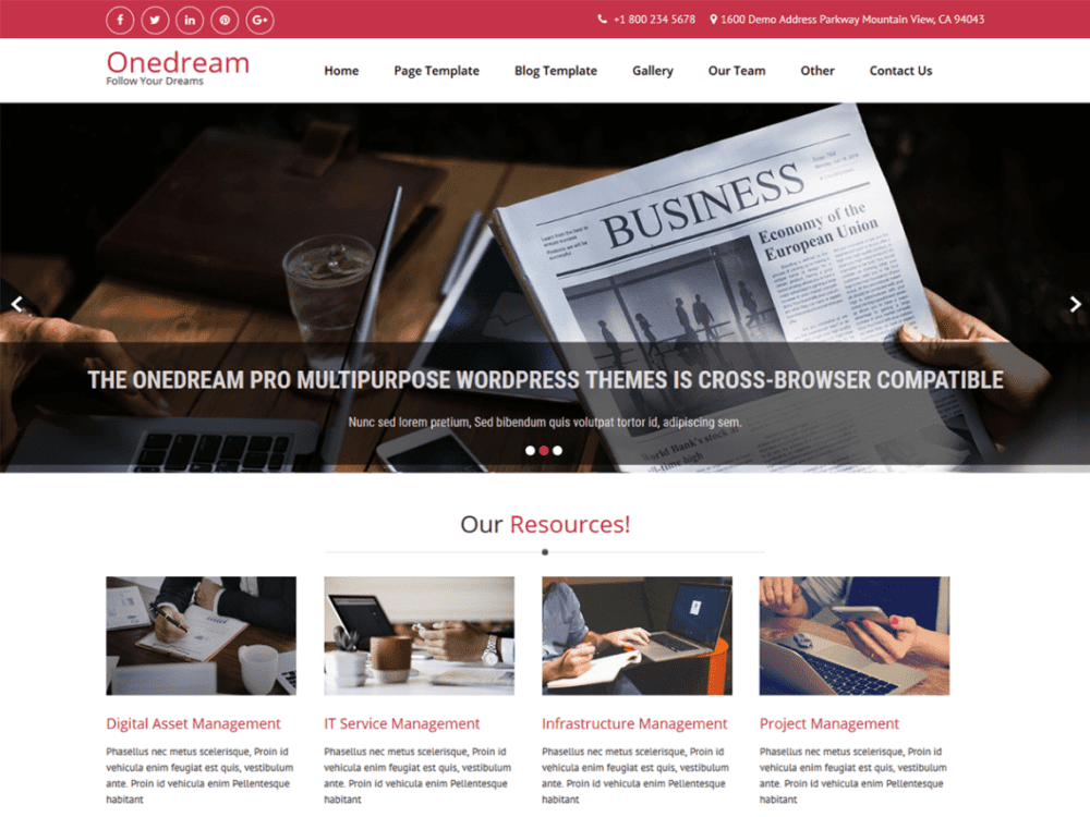 Free OneDream WordPress theme