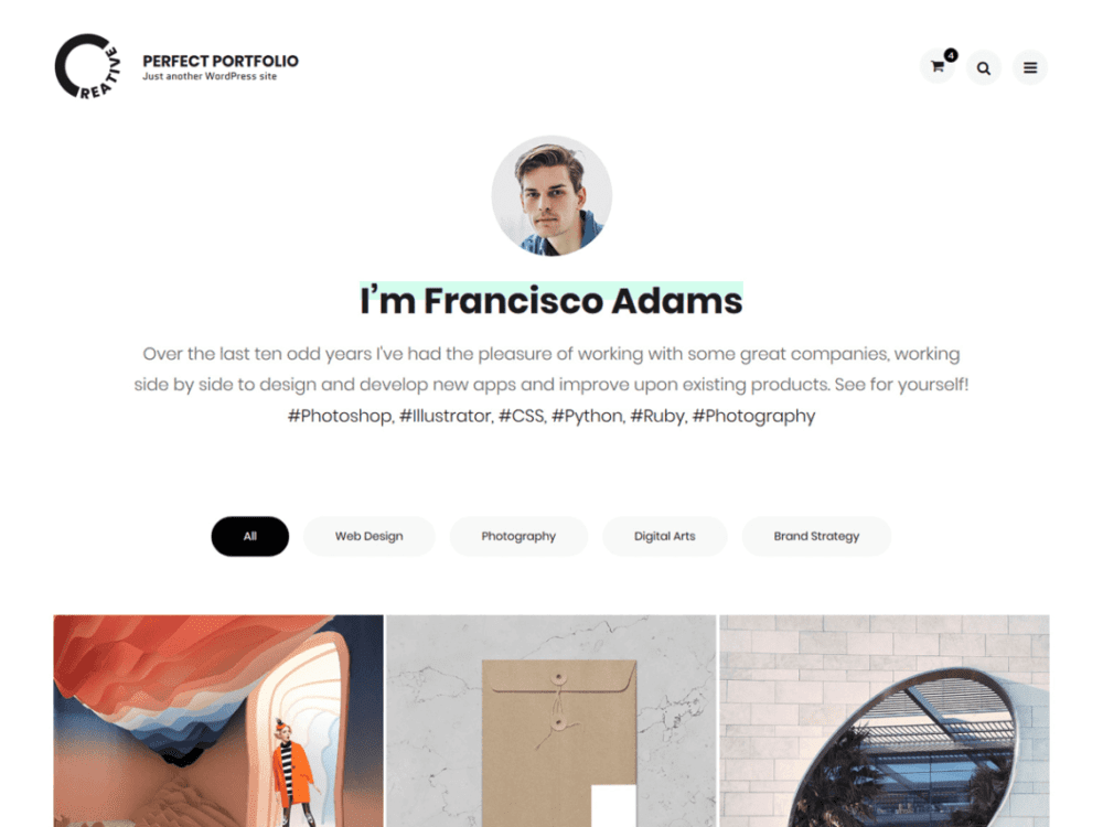 Free Perfect Portfolio Wordpress theme