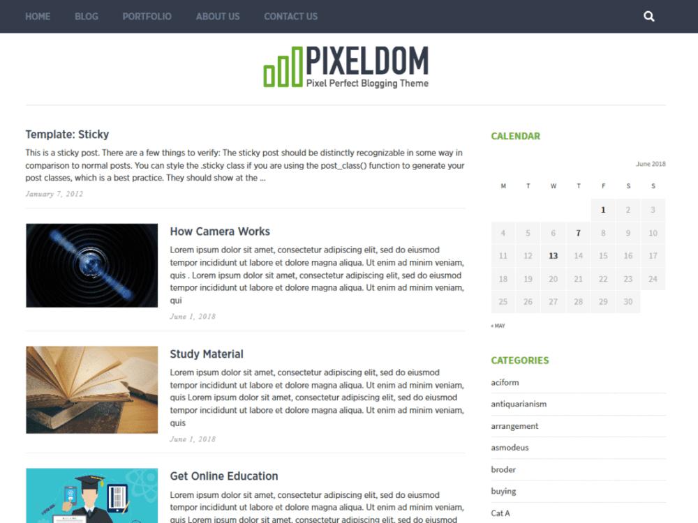 Free Pixeldom Lite Wordpress theme
