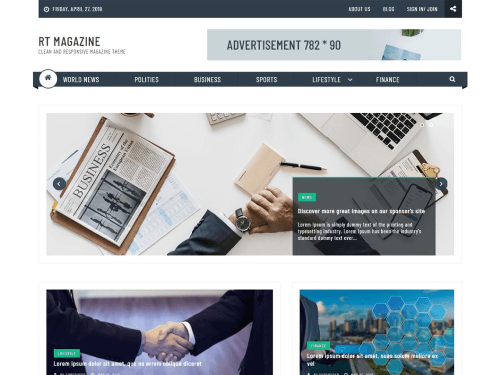Free RT Magazine Plus Wordpress theme
