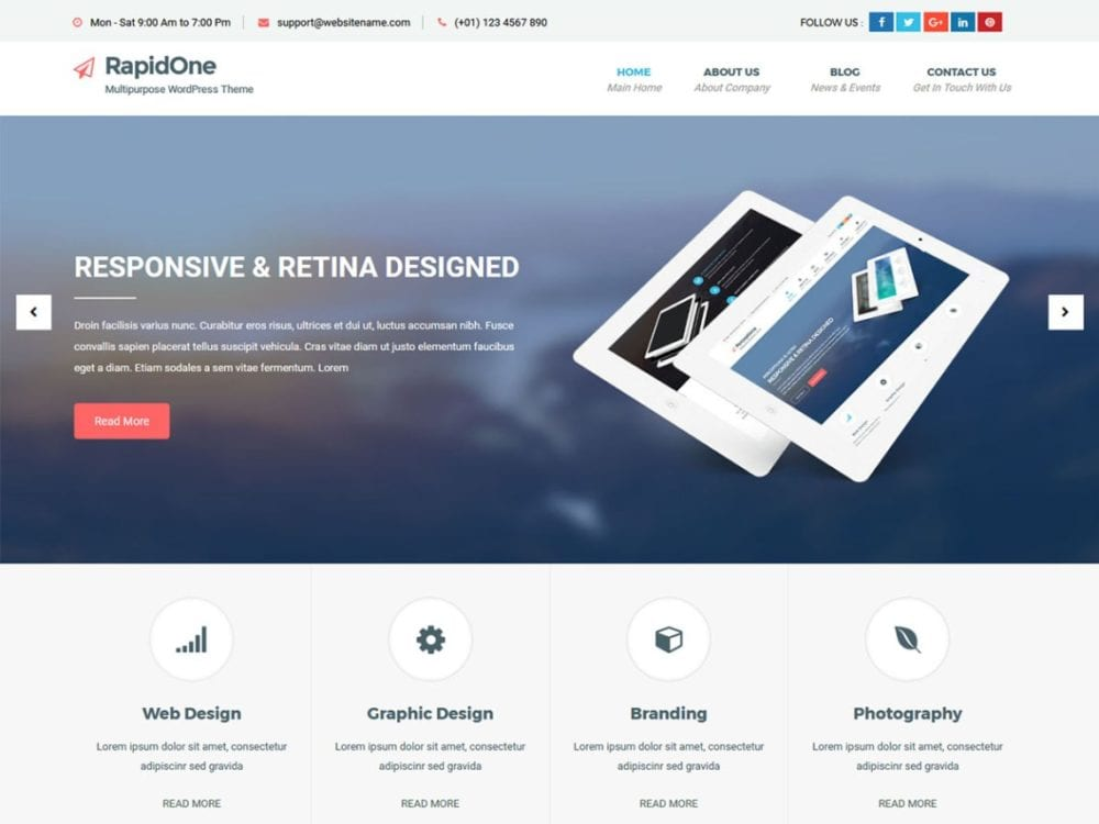 Free RapidOne lite Wordpress Theme