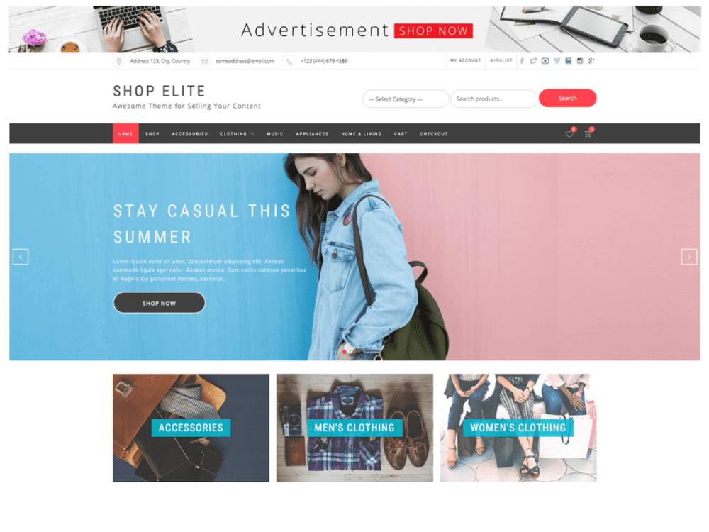 Free Shop Elite Wordpress theme
