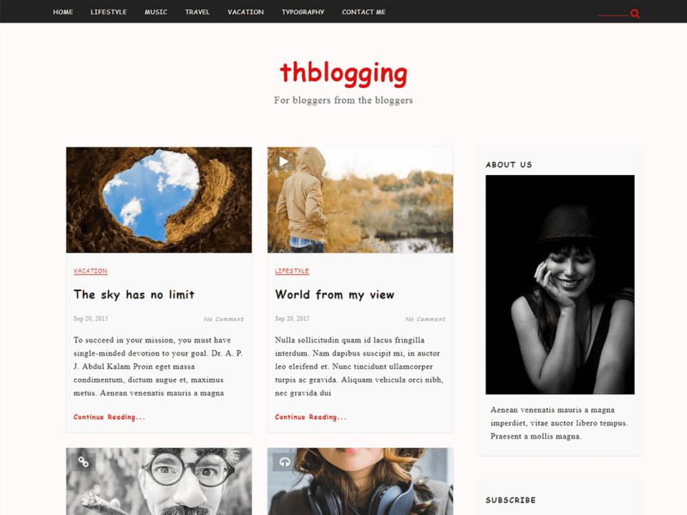 Free TH Blogging Wordpress theme