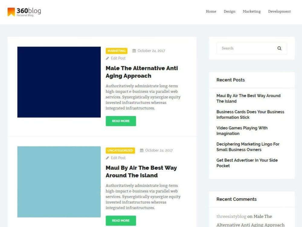 Free ThreeSixtyBlog Lite Wordpress theme