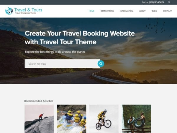 Free Travel Tour Wordpress theme