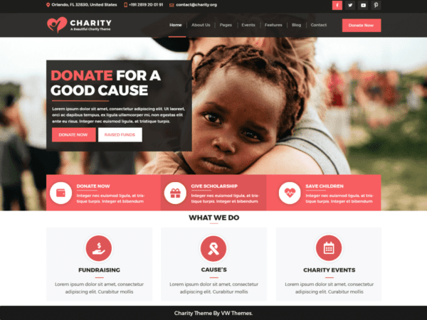 Free VW Charity NGO Wordpress theme