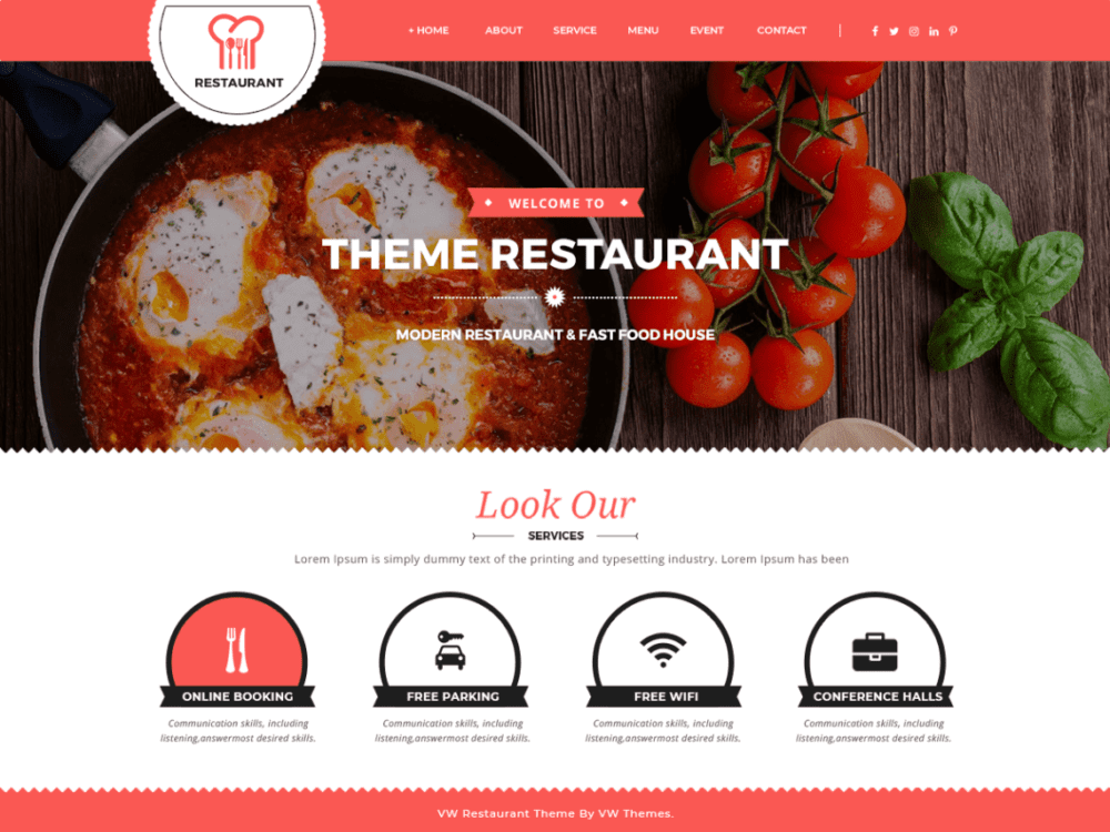 Free VW Food Corner Wordpress theme