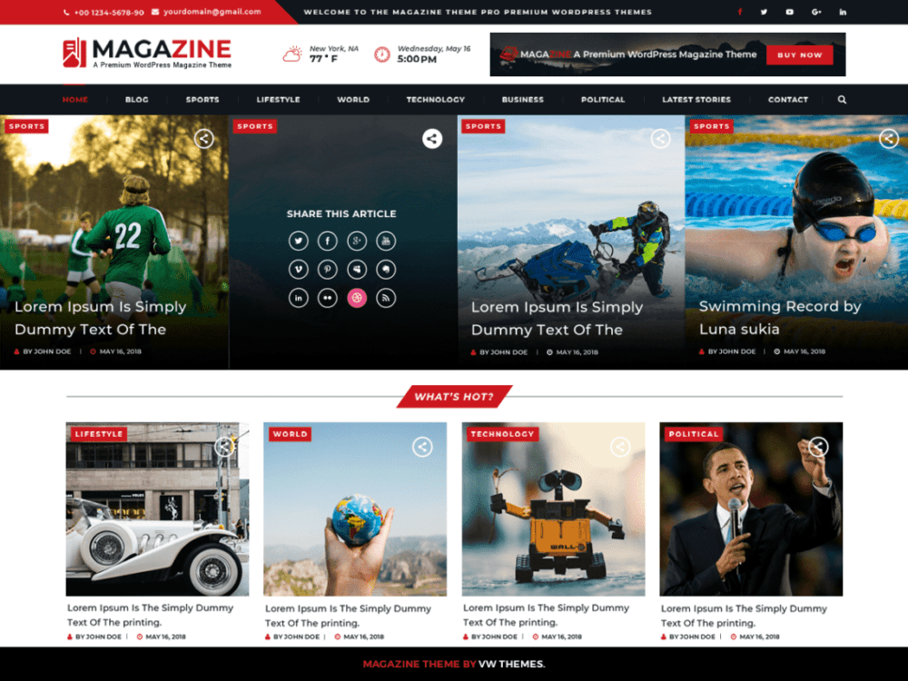 Free VW Magazine Wordpress theme