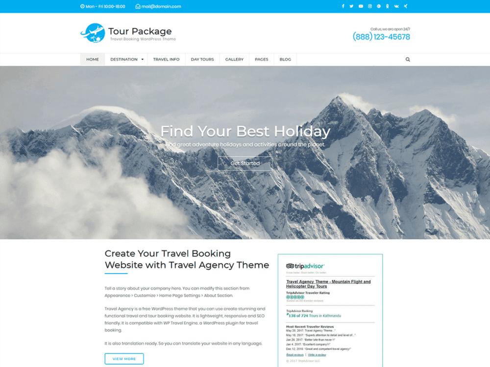 Free WP Tour Package Wordpress theme