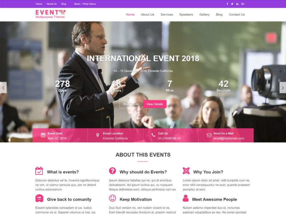 Download Free Event Star WordPress theme - JustFreeWPThemes