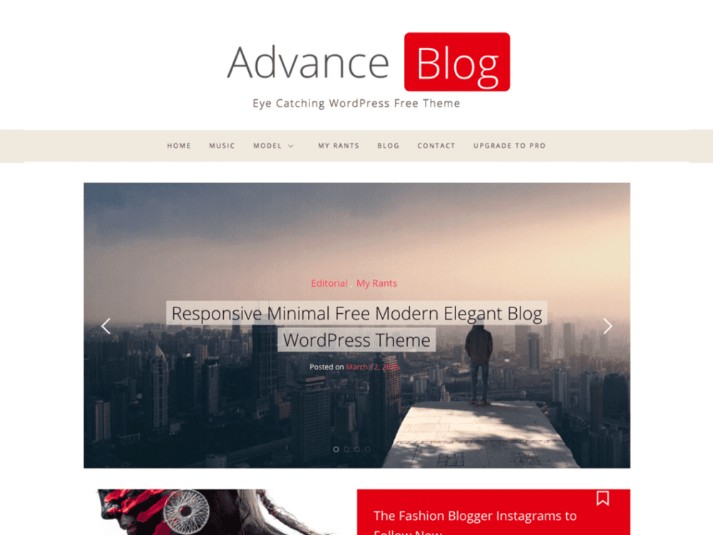 Free Advance Blog Wordpress theme