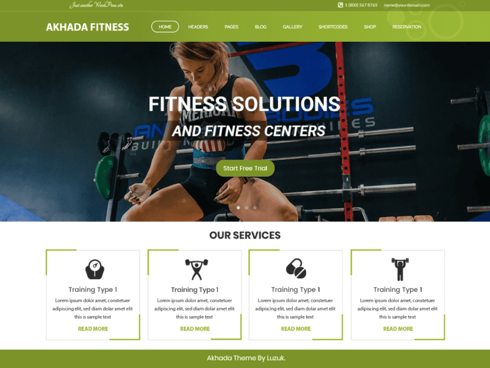 Free Akhada Fitness Gym Wordpress theme