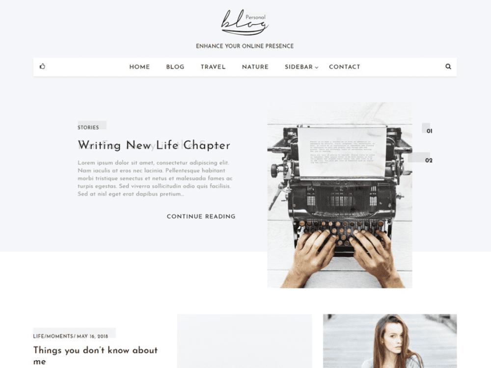 Free Blog Personal Wordpress theme