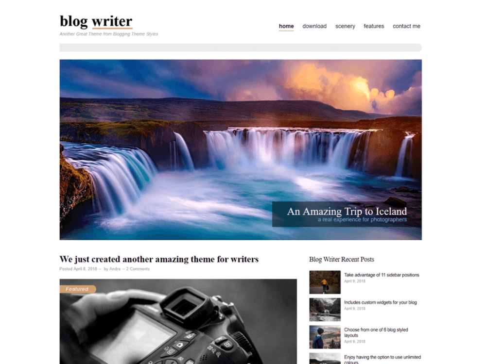 Free Blog Writer Wordpress theme