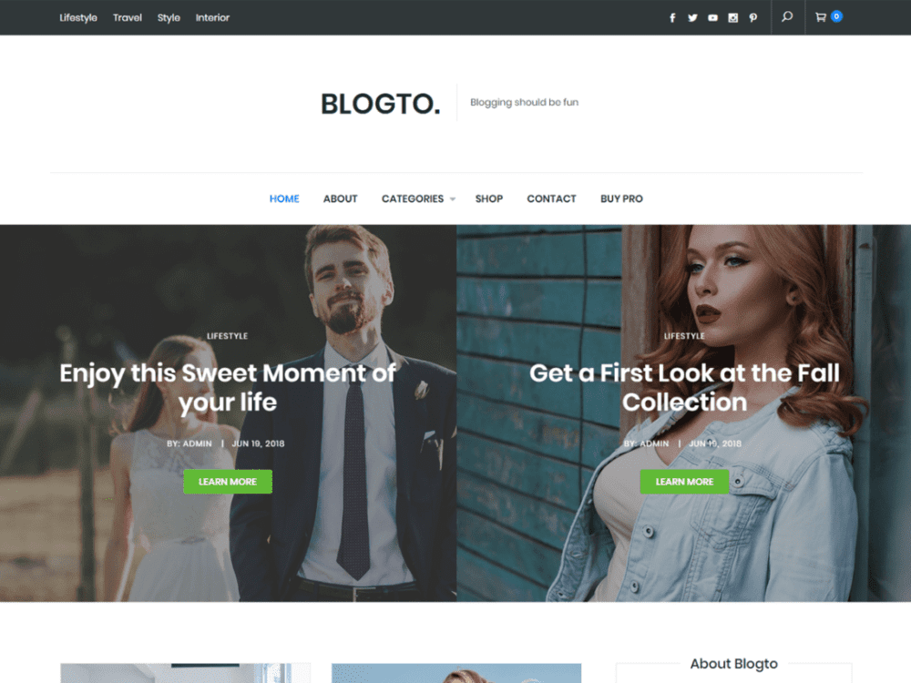 Free Blogto Wordpress theme