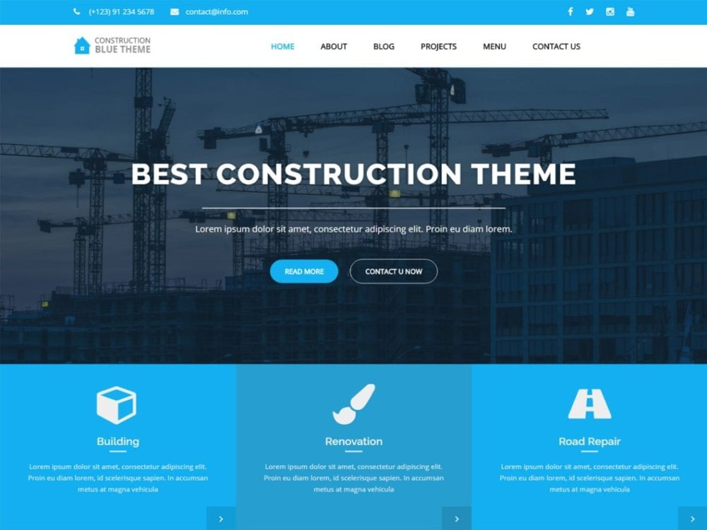 Free Blue Construction Wordpress theme