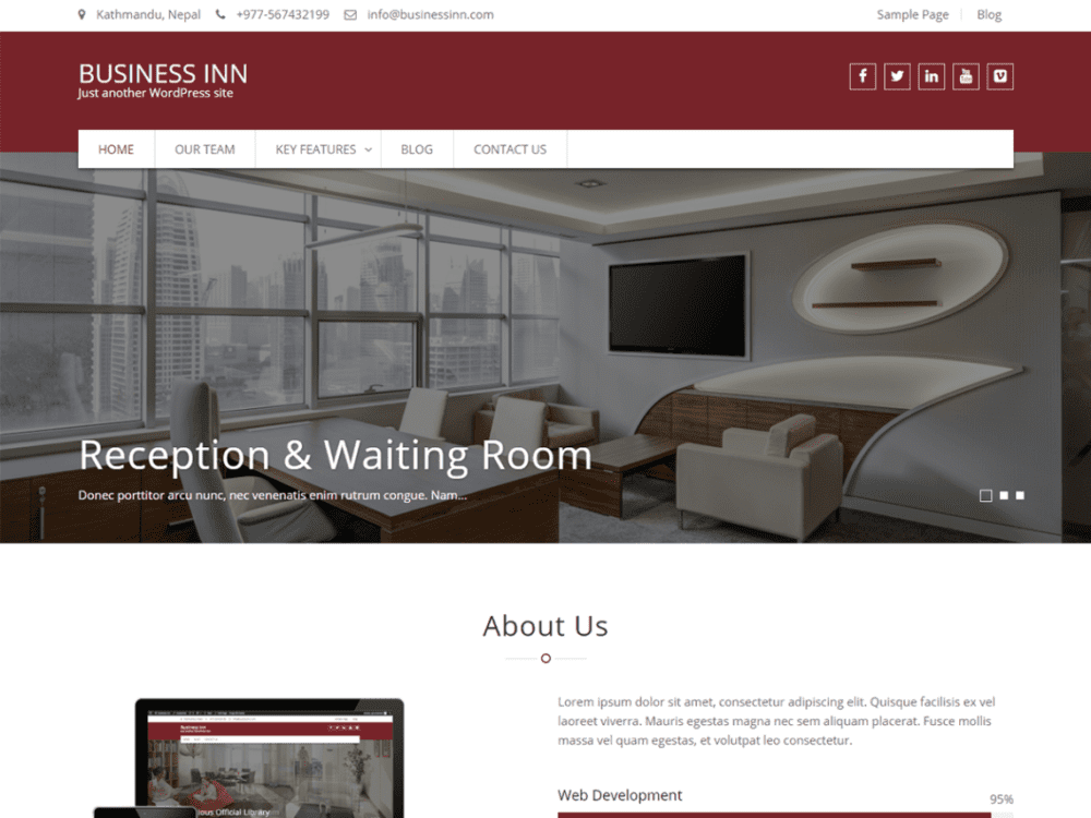 Free Business Inn Wordpress theme