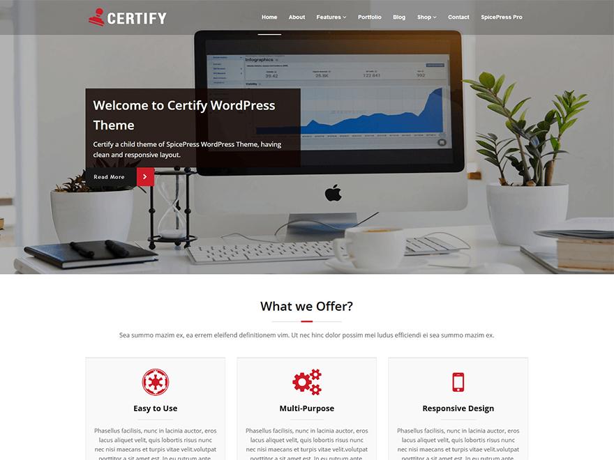Free Certify Wordpress theme