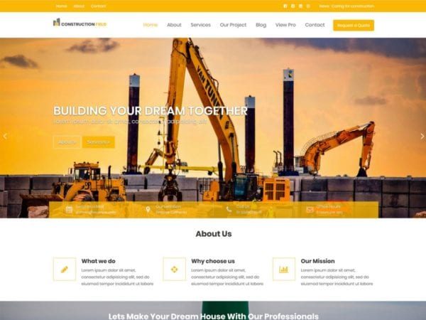 Free Construction Field Wordpress theme