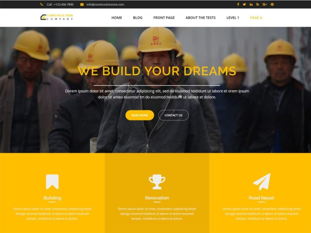 Free Construction Zone Wordpress theme