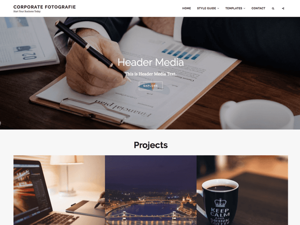 Free Corporate Fotografie Wordpress theme