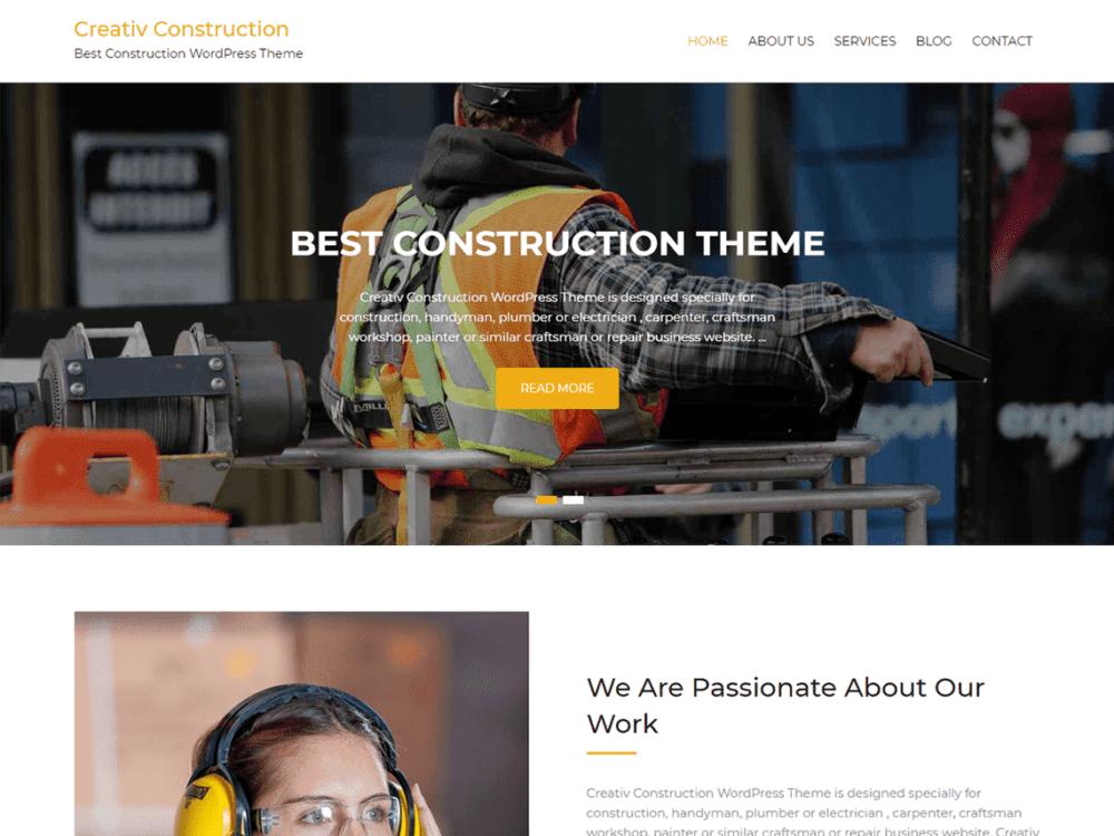 Free Creativ Construction Wordpress theme