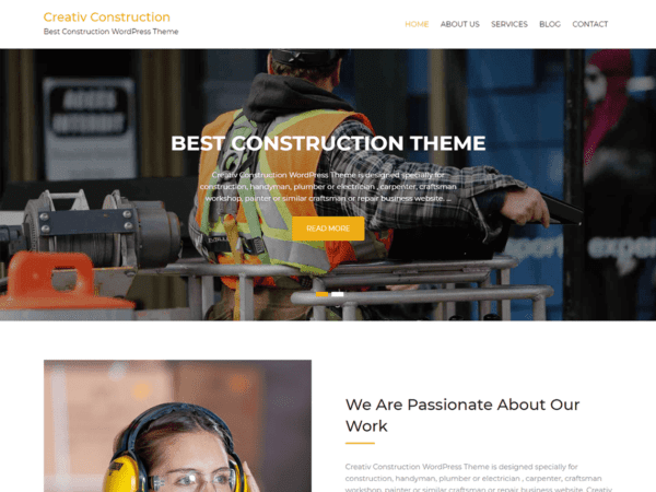 Free Creativ Construction Wordpress theme
