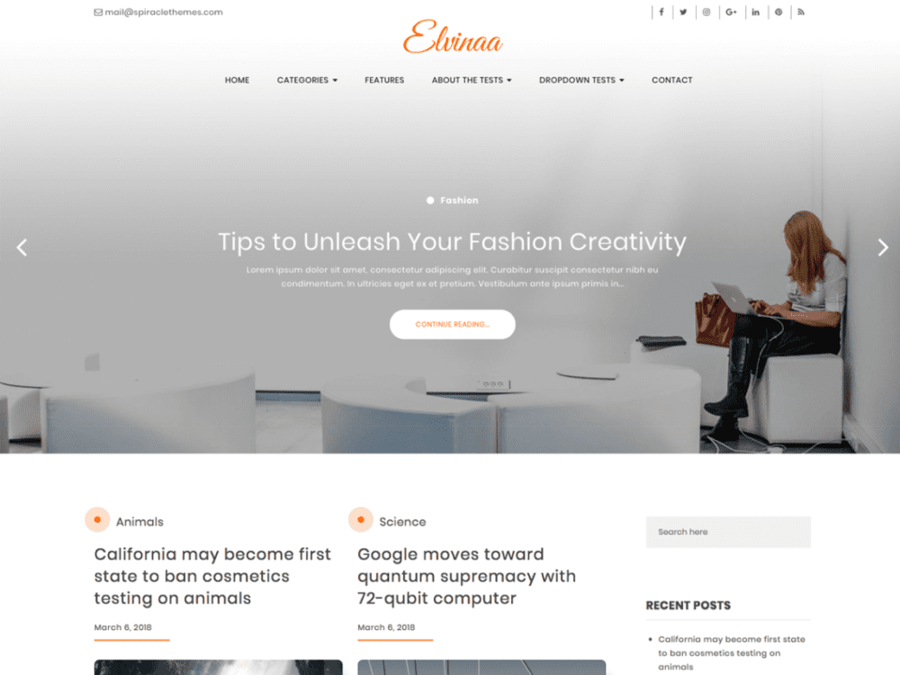 Free Elvinaa Wordpress theme