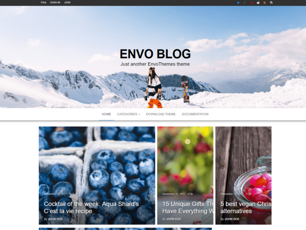 Free Envo Blog Wordpress theme