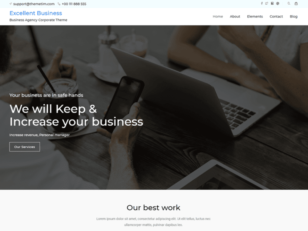 Free Excellent Business Wordpress theme