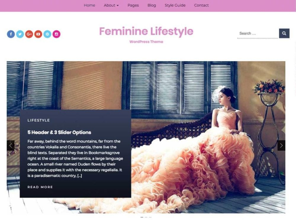 Free Feminine Lifestyle Wordpress theme