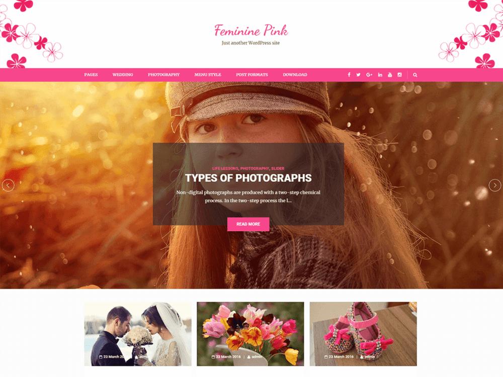 Free Feminine Pink Wordpress theme