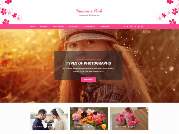 Free Feminine Pink Wordpress theme