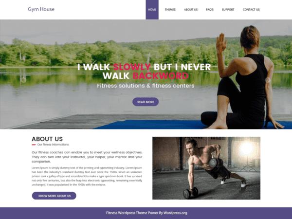Free Fitness Gymhouse Wordpress theme
