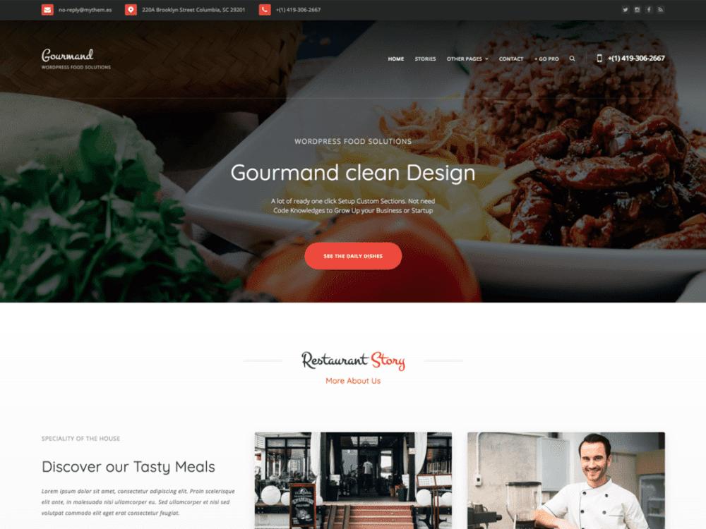 Free Gourmand Wordpress theme