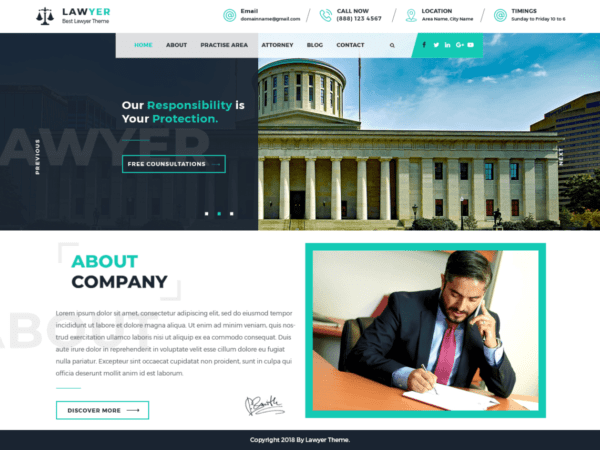 Free Lawyer Lite Wordpress theme