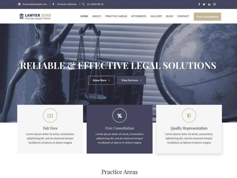 Free Lawyer Zone Wordpress theme