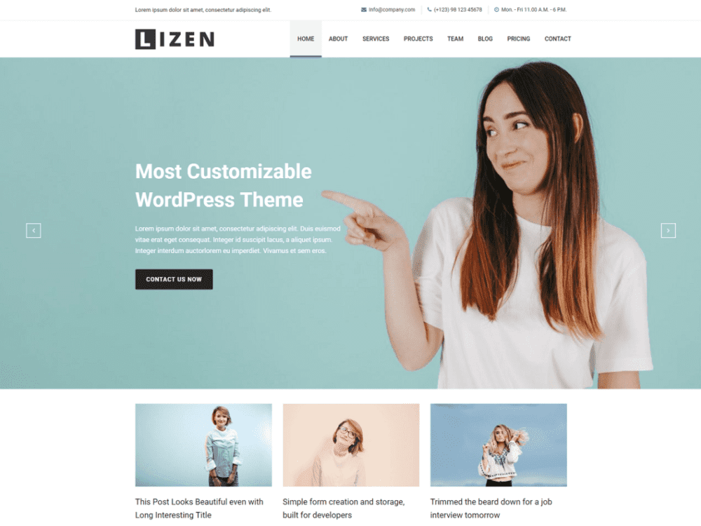 Free Lizen Wordpress theme