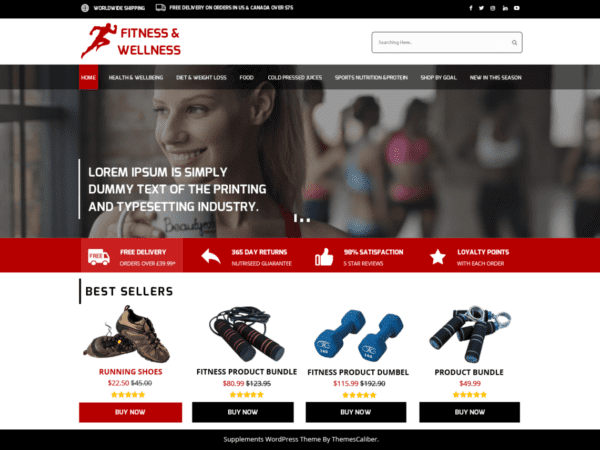 Free Medical Supplements Store Wordpress theme