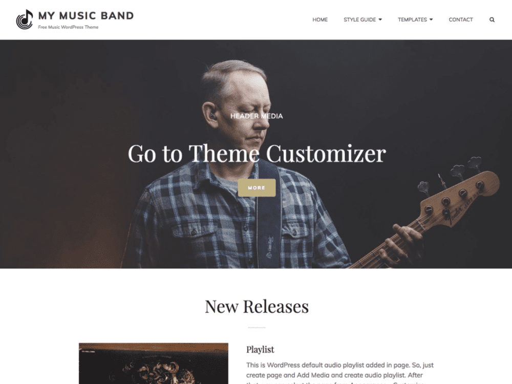 Free My Music Band Wordpress theme