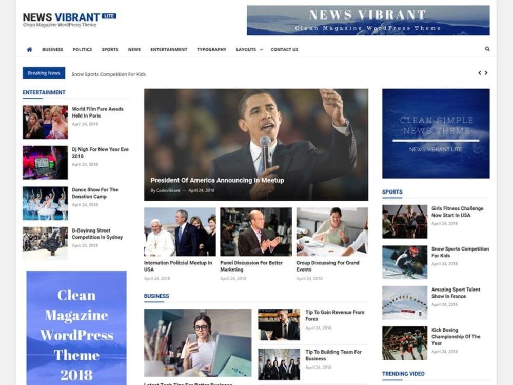 Free News Vibrant Lite Wordpress theme