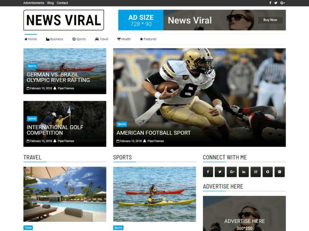 Download Free News Viral Wordpress theme - JustFreeWPThemes
