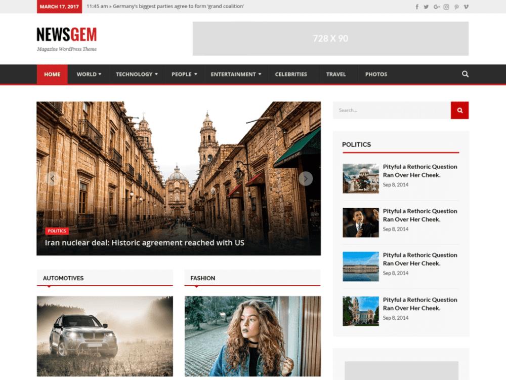 Free Newsgem Wordpress theme