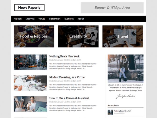 Free Newspaperly Wordpress theme