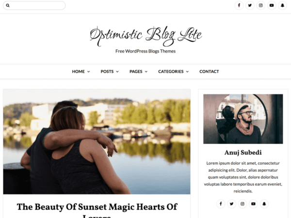 Free Optimistic Blog Lite Wordpress theme