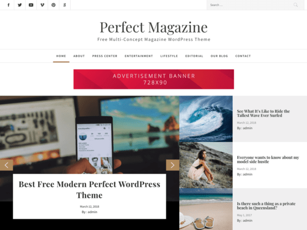 Free Perfect Magazine Wordpress theme