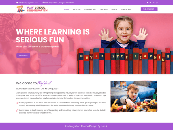 Free Play School Kindergarten Wordpress theme